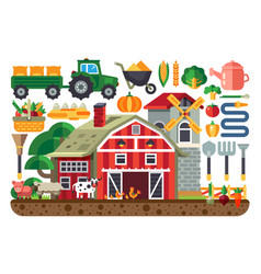stock set of icons for farm vector image