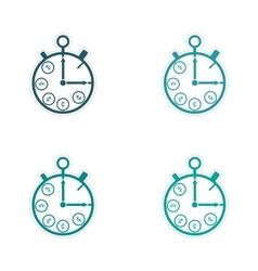 Stylish assembly sticker on paper Stopwatch and vector