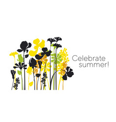 Summer meadow pattern with black silhouettes vector