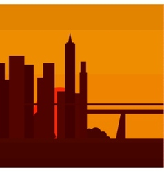 Sunset in New York into a flat vector image