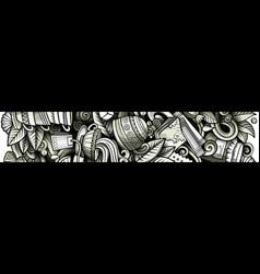 tea hand drawn doodle banner cartoon detailed vector image
