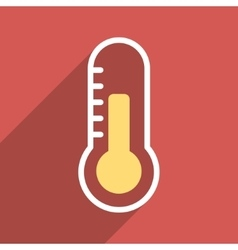 Temperature Flat Longshadow Square Icon vector image