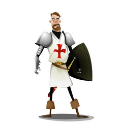 templar knight standing on white background vector image