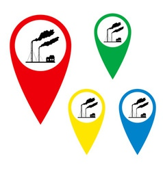 The silhouette of the torches on the map marker vector image