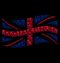 Waving united kingdom flag collage of flag icons vector