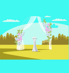 Wedding arch flat vector