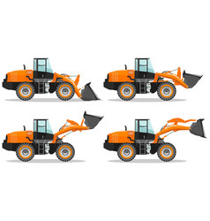 wheel loader with different boom position vector image
