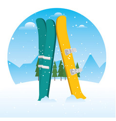 winter sports ski and snowboard equipment vector image