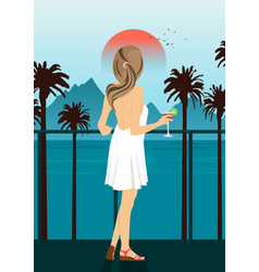 Woman on sea embankment with palm trees at sunset vector