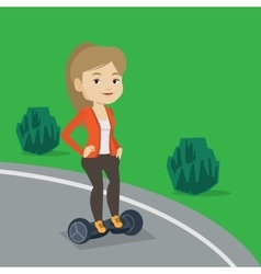 Woman riding on self-balancing electric scooter vector