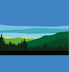 wooded mountains coniferous forest vector image