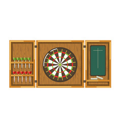 Wooden darts panel with round aim sharp javelins vector