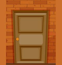 Wooden door on brick wall vector