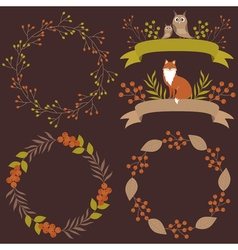 Woodland Wreath And Ribbons Set vector