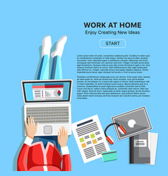 Work at home concept with woman vector