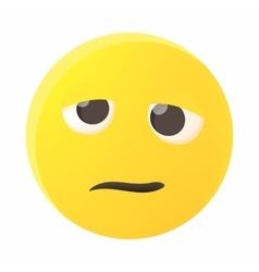 Confused emoticon icon cartoon style vector image