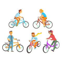 cyclists riding bike set for label design vector image vector image