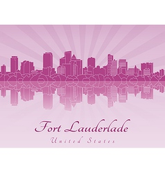 Fort Lauderlade skyline in purple radiant orchid vector image vector image