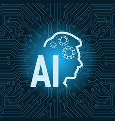 Human head artificial intelligence icon over blue vector
