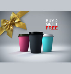 paper coffee cup mockup vector image