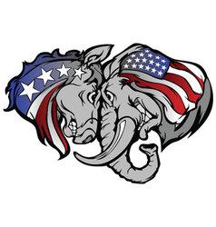 political elephant and donkey cartoon vector image vector image