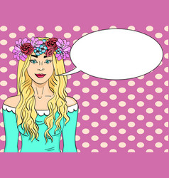 pop art beautiful and young girl blonde wreath vector image