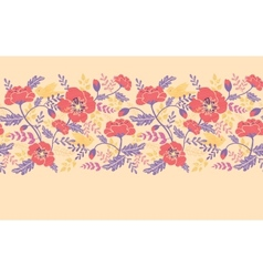Poppy flowers and birds horizontal seamless vector image