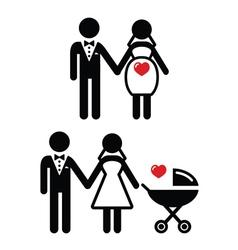 Pregnant bride icon bride with pram vector image vector image