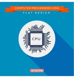 Processor icon CPU Long shadow flat design vector image