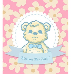 Welcome Baby Card with Teddy Bear vector image