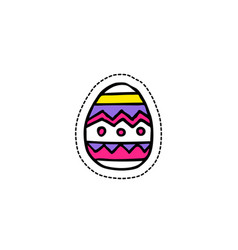 easter egg doodle icon sticker vector image vector image