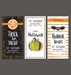 halloween party invitations vertical banners set vector image vector image