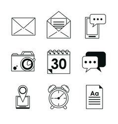 monochrome silhouette with application office vector image