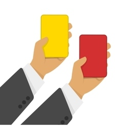 Red and yellow cards in hand vector image