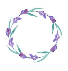 watercolor lavender wreath vector image vector image