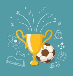 winner cup and ball vector image vector image