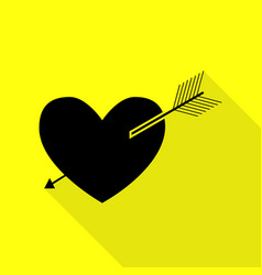 arrow heart sign black icon with flat style vector image vector image