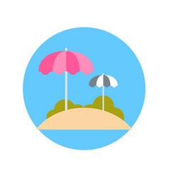 beach with sun umbrellas icon summer vacation on vector image vector image