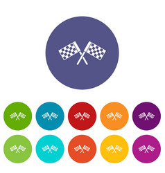 crossed chequered flags set icons vector image