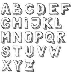 Hand drawn set of ABC letters Free-hand alphabet vector image