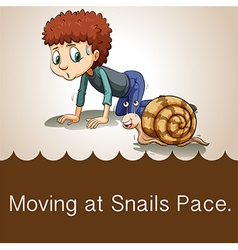 Man crawling beside snail vector