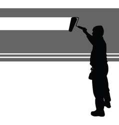 worker paint wall vector image