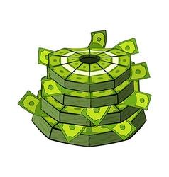 Cake of money Cash as festive cake Bundles of vector image
