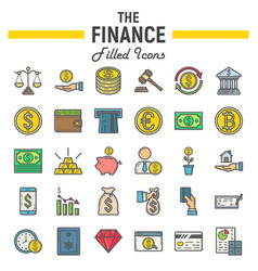 finance filled outline icon set business signs vector image vector image