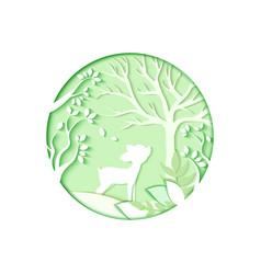 seasons greetings paper cut art carve of deer vector image vector image