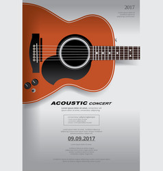 Acoustic guitar concert poster background template vector