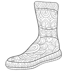 adult coloring bookpage a christmas boot image vector image