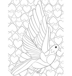 Adult coloring bookpage a cute dove vector