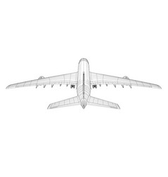 airplane in wire-frame style rear view vector image