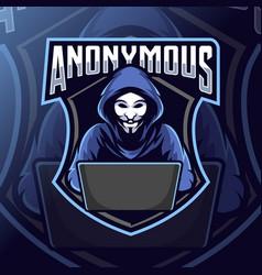 anonymous mascot logo esport vector image